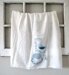 Tea Towel - Screen Printed Organic Cotton Breakfast Flour Sack Towel - Soft and Absorbent Dish Towel. $10.00, via Etsy.