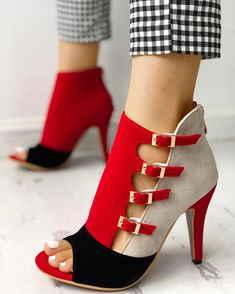 boutiquefeel / Colorblock Splicing Hollow Out Buckled Thin H.- boutiquefeel / Colorblock Splicing Hollow Out Buckled Thin Heels - Hot Shoes, Women's Shoes, Wedge Shoes, Me Too Shoes, Shoe Boots, Ankle Boots, Dress Shoes, Fall Shoes, Strappy Shoes