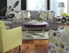 Lovely combo of yellows, purples and grays! Huntington House 3181-20 #sofa and accent chairs #furniture #interiordesign