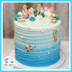 Unter dem Seegeburtstagskuchen NJ Best Picture For Birthday Cake for boyfriend For Your Taste You are looking for something, and it is going to tell you exactly what you are looking for, and you didn' Cl Birthday, Ocean Birthday Cakes, Boys 1st Birthday Cake, Ocean Cakes, Themed Birthday Cakes, Little Girl Birthday Cakes, Husband Birthday, Beach Themed Cakes, Beach Cakes