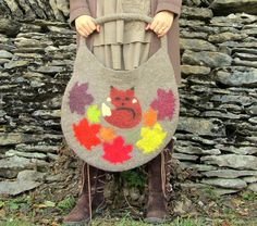 Fox Bag. Wet Felted Bag. Large Handmade Felt Tote by HandiCraftKate, $75.00