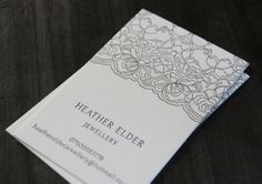 Business Cards for Heather Elder Jewellery.  Letterpress printed on 100% Cotton Saunders Waterford Stock.  #letterpress #jewellery #branding
