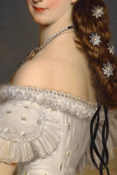 Empress Elisabeth of Austria in Courtly Gala Dress with Diamond Stars by Franz Xavier Winterhalter - 1865 - Detail