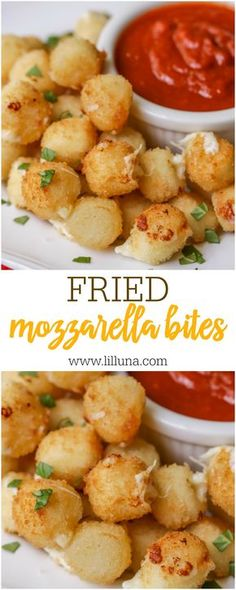 Fried Mozzarella Bites recipe - these mini appetizers are delicious, easy and perfect for any party served with marinara.