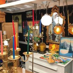this is the look for september in my camas antiques space where crazy colorfull candles in candelabras reign in . Candelabra, Reign, September, Candles, Marketing, Space, Antiques, Floor Space, Antiquities