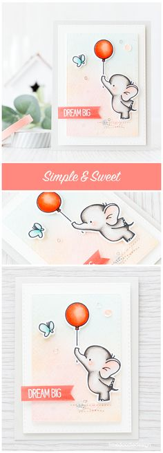 Simple and sweet card for this cute little elephant. Find out more by clicking the following link: http://limedoodledesign.com/2016/01/simple-and-sweet/