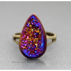 Titanium Fire Plum Druzy Natural Stone Ring by ChristinaRoseStudio ($35) ❤ liked on Polyvore