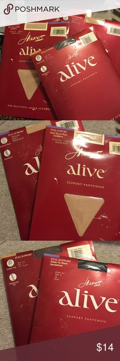 BNIB: Hanes Alive support pantyhose BNIB: Hanes Alive support pantyhose. These are from the 80/90s. No joke; these are amazing! full support - and THEY DONT RUN! Four styles/colors available. All are SIZE C (see chart in last pic) Hanes Accessories Hosiery & Socks