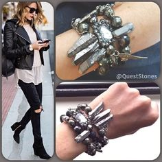 Edgy vibe. I say my whole week is in this stack. But, the rain is coming down now, washing away dirt and such. #pyrite #ootd #goals going to start adding in the Pantone #serenity colors to my next stack. #rocknroll #QuestStones #ootn #styleblogger #leather #strongissexy #style #blackandwhite #fashionweek #mindset #saturday #ilovejewelry #streetstyle #bts