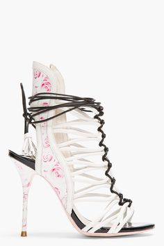 SOPHIA WEBSTER Ivory Leather Rose Print lacey Cage Heels