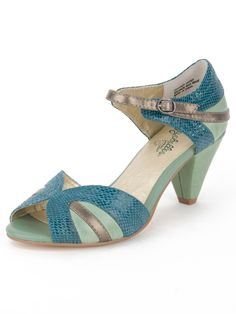 "Ooh, I like these #teal #peeptoes . Probably about the top of my heel height limit at 2.5"". The ""nude"" color looks decently beige without being mauve."