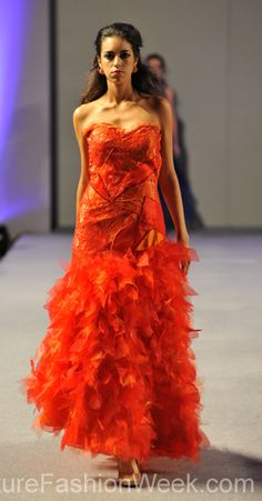 Carlos Vigil Couture Fashion Week New York 2013 #FashionWeek #Fashion #Couture #AndresAquino #Style #Women #Designer #Model #Feather #Dress #Orange
