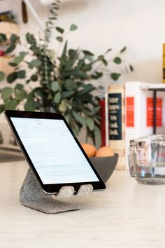Stanley, an adjustable stand for your phone or tablet made of Italian leather and Merino wool by Distil Union.