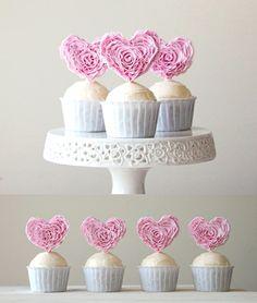Bird's Party Blog: Win a Set of Designer Ruffle Heart Fondant Cupcake Toppers !! #stylesweetCA
