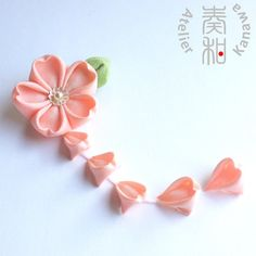 RESERVED  Sakura Cherry Blossom Tsumami Kanzashi by AtelierKanawa, $0.20