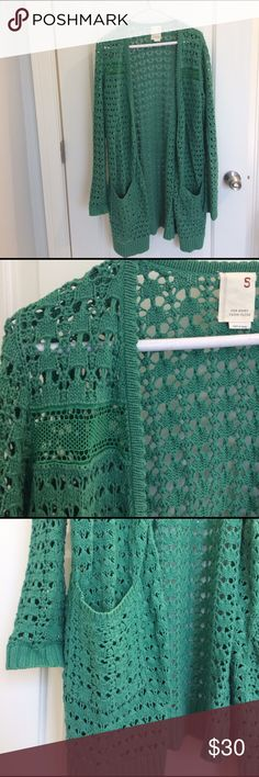 Anthropologie green cardigan, lightweight Excellent condition. Soft acrylic and wool blend. Pockets and beautiful details. Hits mid/upper thigh. Anthropologie Sweaters Cardigans