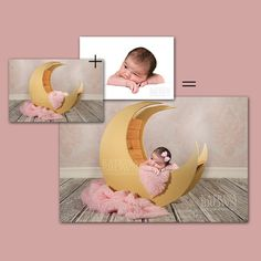 Pink Moon Prop for Infant Newborn Photography. by HootieHooDesigns