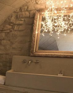 DIY: String Lights in the Bath (Love this -very French Cottage Style)