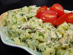 Potato Chicken Salad with a Basil Parsley Mayonnaise Croatian Recipes, Hungarian Recipes, Chicken Potato Salad, Basil Chicken, Italian Chicken, Mayonnaise Recipe, Cold Dishes, Veggie Dishes, Potato Recipes