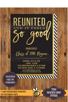 High School Reunion Invitation - Reunited and it feels so good invitation - class reunion - college reunion - family reunion - Item 0291 by TheHoneyBeePress on Etsy https://www.etsy.com/listing/263703153/high-school-reunion-invitation-reunited