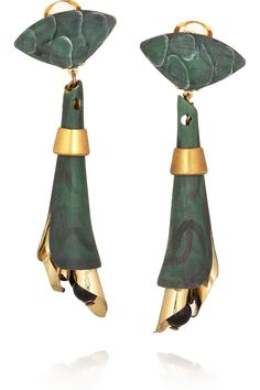 Marni - Gold-tone brass, green marble-effect brass, black glass crystals