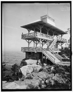 """Circa """"High Rock Observatory near Pen Mar Park, Maryland. Vintage Photographs, Vintage Photos, Shorpy Historical Photos, Places Of Interest, High Resolution Photos, Photo Archive, Blue Ridge, Back In The Day, Far Away"""