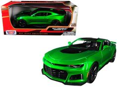 scale diecast model car of 2017 Chevrolet Camaro Metallic Green diecast car model by Motormax. Brand new box. Made of diecast with some plastic par… Red Camaro, Camaro Zl1, New Model Car, Old Classic Cars, Rubber Tires, Diecast Model Cars, Chevrolet Impala, Metallic, Marvel Store