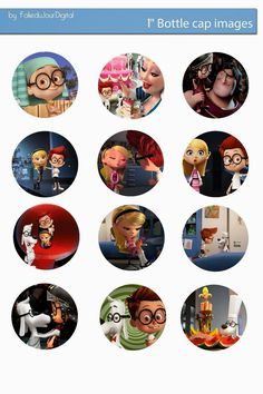 Free Bottle Cap Images: Mr Peabody and Sherman free digital bottle cap images