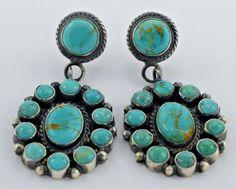 Navajo Handmade Sterling Silver Kingman Cluster Earrings - Anthony Skeets