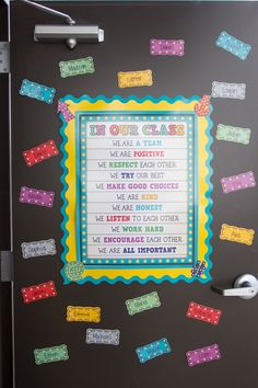 In Our Class Marquee Chart is a great addition to a classroom door.  Add student pieces around the outside to welcome your new star students for the coming school year.