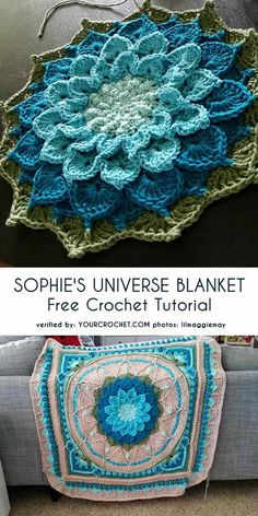 Most recent Free Crochet afghan cal Thoughts Patrón de crochet gratuito de Sophie's Universe manta… Mandala Crochet Patron, Crochet Mandala Pattern, Crochet Flower Patterns, Crochet Squares, Crochet Designs, Crochet Flowers, Crochet Stitches, Knit Crochet, Blanket Crochet
