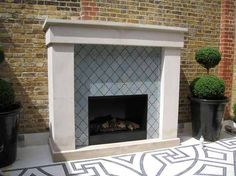 Luxury tile outdoor fireplace house wall mounted