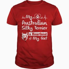 My #Australian Silky #Terrier a Heartbeat at My Feet, Order HERE ==> https://www.sunfrog.com/Pets/My-Australian-Silky-Terrier-a-Heartbeat-at-My-Feet-Guys-Red.html?6432, Please tag & share with your friends who would love it, #superbowl #renegadelife #birthdaygifts