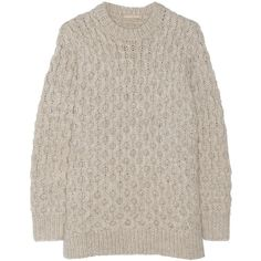 Michael Kors Cable-knit sweater (565 CAD) ❤ liked on Polyvore featuring tops, sweaters, beige, beige sweater, cable sweater, pink cable knit sweater, long tops and pink sweater