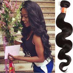 DE Schwarze brasilianische Menschenhaarverlängerung Brazilian Remy Hair Body in Beauty & Gesundheit, Haarpflege, Perücken & Haarverlängerungen | eBay