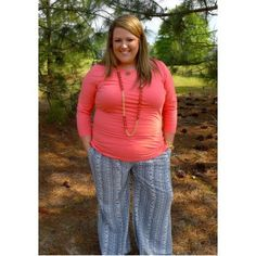 Extended Size: Color Me Coral  Top and palazzo pants available in plus size!