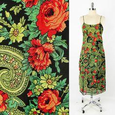 $148 FREE PEOPLE anthropologie GREEN PAISLEY FLORAL print midi maxi dress M/L $39.99