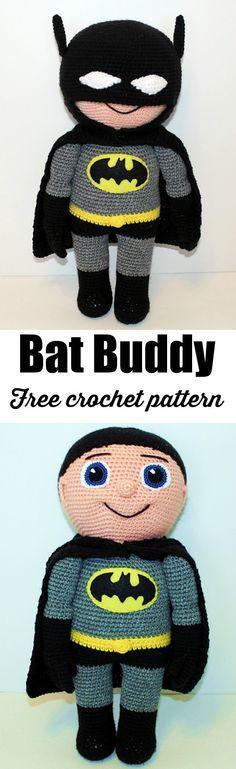 Free Bat Buddy crochet pattern, amigurumi doll.
