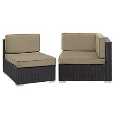 Patio armless chair and corner Synthetic Rattan Weave Powder Coated Aluminum Frame
