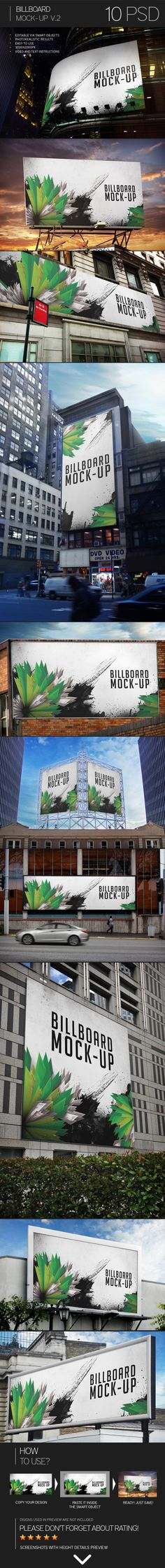 Buy Billboard Mock-Up by Eugene-design on GraphicRiver. Billboard Mock-Up Features - 10 mock-ups; - editable via smart objects; - video and text instru. Design Social, Web Design, Tool Design, Graphic Design, Billboard Mockup, Billboard Design, Branding, Mockup Photoshop, Signs
