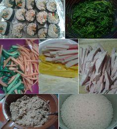 Kimbap – 김밥 Korean Kimbap Tuna Rolls Style Seaweeds- Rice- Tuna- Crap- Spinach- Carrots- Cucumber- Green Onions- White Eggs- Yellow Eggs-