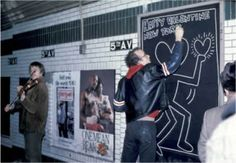 Artist keith haring, I so remember his odd yet interesting art, if I ever see anything by him the 80s come to mind immediately with his wild, urban bohemian styled art, his images always reminds me of the music video for Genius of love by the Tom Tom Club -Liza - ubiquitous 80's NY