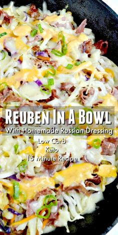 Keto Reuben In A Bowl with a low carb homemade Russian dressing! Easy to make and serve for dinner or meal prep for lunch! Keto Reuben In A Bowl with a low carb homemade Russian dressing! Easy to make and serve for dinner or meal prep for lunch! Cena Keto, Le Diner, Keto Dinner, Dinner Healthy, Low Carb Keto, Low Carb Lunch, High Fat Keto Foods, Keto Carbs, Casserole Recipes