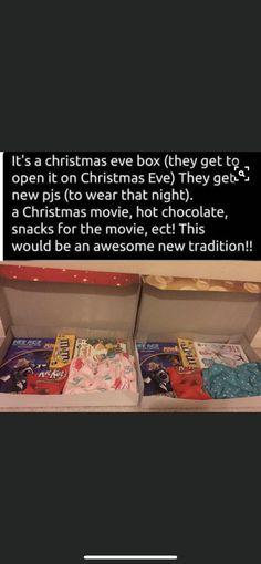 Christmas Eve Box - All About Mini Me - Babysitting Christmas Eve Box, All Things Christmas, Kids Christmas, Christmas Lights, Xmas, Christmas Ornament, Baby Life Hacks, Useful Life Hacks, Mom Hacks