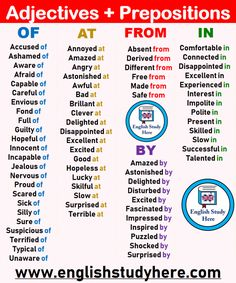 Adjectives + Prepositions List, of, at, from, in English Grammar Rules, Teaching English Grammar, English Writing Skills, Grammar And Vocabulary, English Language Learning, English Vocabulary Words, English Lessons, Grammar Skills, English Prepositions