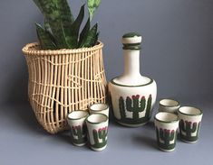 Stoneware Decanter and Shot Glasses, Mexican Pottery, Southwestern Decor, Cactus Design by 1006Osage on Etsy