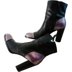 Metallic Lavender on Black Short Boots Women Size 8 1/2 M Nine West... (£48) ❤ liked on Polyvore featuring shoes, boots, black ankle boots, high heel boots, ankle boots, lace up ankle boots and laced up boots