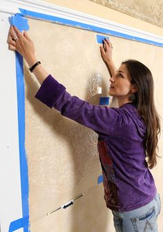 How to stencil a wall with an allover stencil. I so want to do this somewhere
