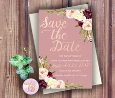 Marsala, Boho, Dusty Rose Save the Date - Anna Save the Date