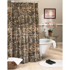 Mixing Manly With Cly Using Camo Curtains Browning Bathroom For The House Pinterest And